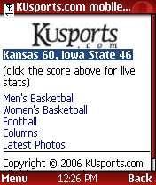 KUSports mobile home page