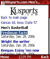 KUSports mobile interior page